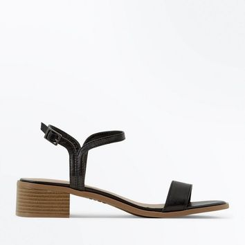 Black Low Block Heel Sandals | New Look