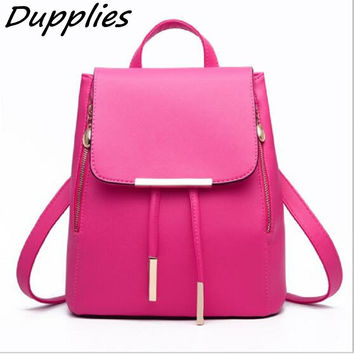 Dupplies Women Daily Backpacks Girls School Shoulder Bags Ladies PU Leather Travel Bags Candy Color Backpack Women