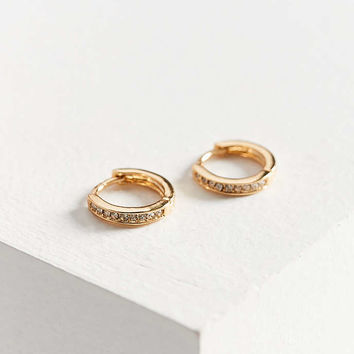 Sterling Silver + 18k Gold Plated Rhinestone Huggie Hoop Earring - Urban  Outfitters 20f7311b1c74