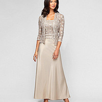 Alex Evenings Petite Lace & Charmeuse Jacket Dress - Champagne