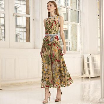 2019 Spring Summer Sleeveless Crew Neck Floral Print Embroidery Mesh Mid-Calf Length Dress Luxury Runway Dresses A072119