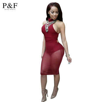 Sexy Red Mesh Dress bandage Dresses Sexy Club Dress backless bodycon Night Club Wear Party Dress Vestido De Festa