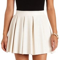 Perforated Faux Leather Pleated Skater Skirt - Ivory