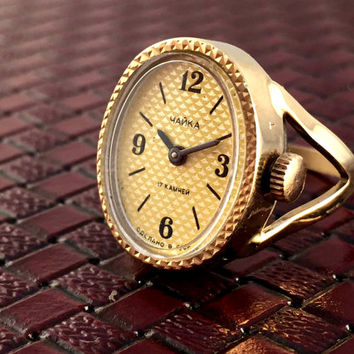 """Elegant women's ring watch """" Chaika""""-""""SEAGULL"""". Gorgeous tiny women's ring-watch, great gift idea for her"""