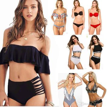 Sexy Women's Bikini Set Padded Push Up Swimwear Bandeau Off Shoulder Halter Bandage Swimsuit Bathing Suit Girls Lady Beach wear S M L XL