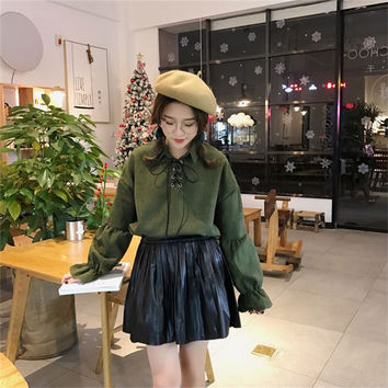 New  Korean style Summer Elegant Bow Tie Blouse Turn-Down Collar Shirt Lantern Sleeve Blusas Women Tops 72516 GS