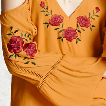 Embroidered Open-Shoulder Dress