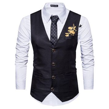 Classic V Neck Mes Suit Vest  Fashion Embroidery Men Waistcoat Casual Business Wedding Men Vests