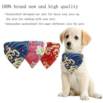 Pet Dog Collar Scarf Adjustable Printed Classic Puppy Neckerchief Bandana for Cats Dogs MYDING