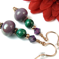 Purple Lampwork Earrings, Green Malachite Gemstone, Swarovski Amethyst Crystals, Copper Beads and Hooks, Handmade Jewelry Dangles, OOAK
