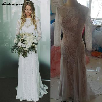 Long Sleeve Lace Open Back Boho Wedding Dress Real Picture Bridal Gowns vestido de noiva 2018 Robe de Mariage