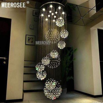 Modern Large Crystal Chandelier Light Fixture for Lobby, staircase, stairs, foyer Long spiral Crystal Light lustre ceiling lamp