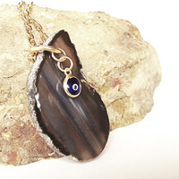 geode slice necklace evil eye charm - statement necklace gift for her
