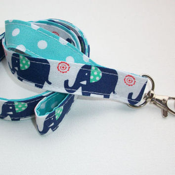 Fabric Lanyard / ID Holder with key ring - blue elephants orange and seafoam with white dots aqua - lobster claw clasp and key ring