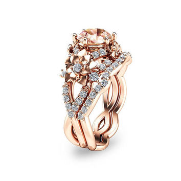Special Reserved - 14K Rose Gold Morganite Bridal Set Floral Design Wedding Ring Set - first payment