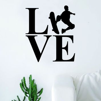 Love Skater Silhouette Sports Decal Sticker Wall Vinyl Art Home Decor Teen Nursery Skate Skateboard Skateboarder