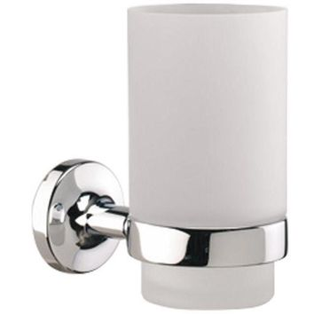Sonia E-PLUS Wall Mounted Glass Toothbrush Toothpaste Holder Tumbler, Brass