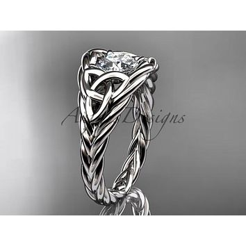 14kt white gold celtic trinity rope wedding ring RPCT964