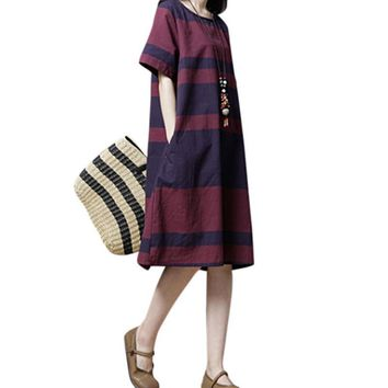Women Cotton Linen Dress Striped Printed Pockets O Neck Short Sleeve Midi Dress Vintage Casual Loose Summer Dress Tunic Vestido