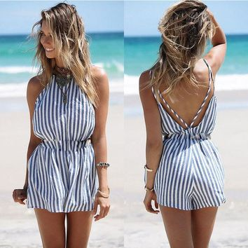 Womens Cool Stripe Casual Beach Romper