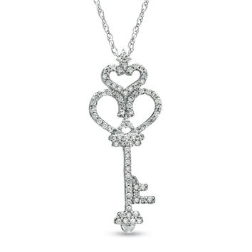 1/6 CT. T.W. Diamond Heart-Top Key Pendant in 10K Rose Gold - View All Necklaces - Zales