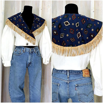 Fringed crop top / 80s cropped blouse / Southwestern /  Boho / Country Western / Rodeo / Retro / Cowgirl / size M
