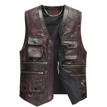 Leather Vest Men The New Cow Leather Jacket For Motorcycle Outerwear Retro Vintage Biker Vest TJ12