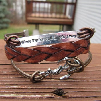 USA Seller - Silver Anchor and Inspirational Charm Leather Wrap Bracelet