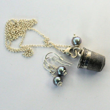 Peter Pan Sterling Silver and Freshwater Pearl Thimble and Acorn Hidden Kisses SET Necklace and Earrings