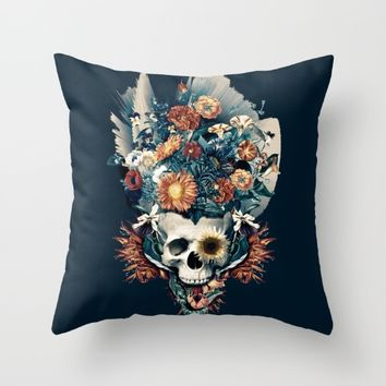 Skull and Flowers Throw Pillow by RIZA PEKER