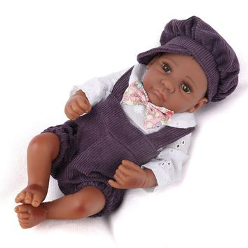 10 inch African-American Reborn Boy Baby Dolls With Hat