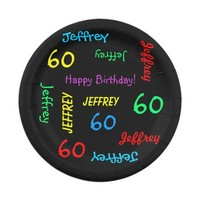 Black Plates, 60th Birthday Party, Repeating Names Paper Plate