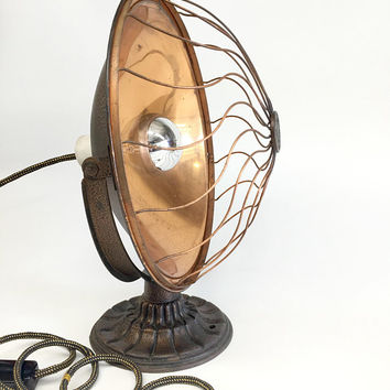 Antique Copper Lamp, Vintage Space Heater, Graybar Heater Lamp Model 75, Primitive Lamp, Industrial Desk Lamp, Man Cave Lamp
