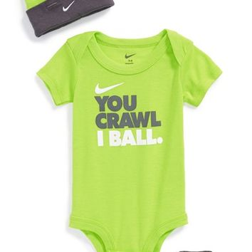 Infant Boy's Nike 'You Crawl, I Ball' Bodysuit, Booties & Cap