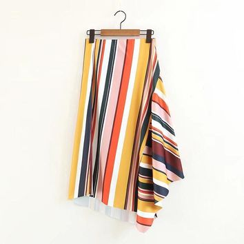 *Online Exclusive* Multi Striped Colored Long Skirt with Ruffles