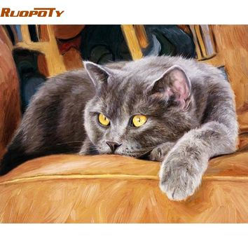 RUOPOTY Frame Animals Cat DIY Painting By Numbers Kit Acrylic Paint On Canvas Wall Art Picture Hand Painted For Home Decor 40x50