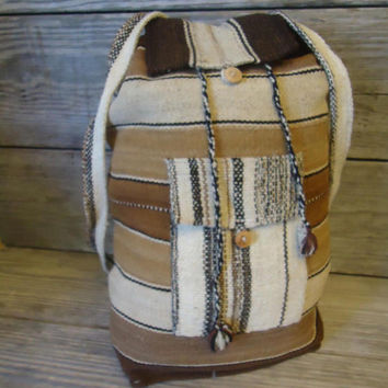 Large Boho Backpack Vintage Hippie Bag Wool Textile Weaving Andean Aymara Indian Handmade