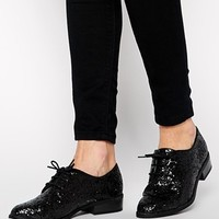 New Look Jazzle Black Glitter Lace Up Brogue Shoes