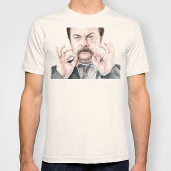Ron Swanson Portrait | Watercolor T-shirt by Olechka