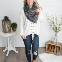 Mixed Scale Plaid Scarf - Plum/Grey