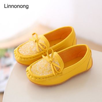 New Spring Cute Princess Shoes For Kids Shoes Children Soft Leather Flats Loafer School Girl Casual Sneakers For Girls Footwear
