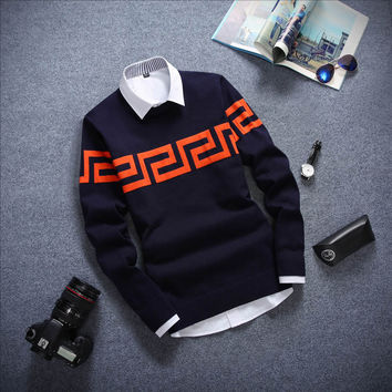 Long Sleeved Sweater Navy and Red