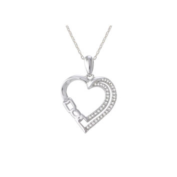 Sterling Silver Diamond Heart Mom Necklace Double Row Pave Outline .15ct