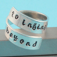 To Infinity and Beyond Ring - Adjustable Twist Aluminum Ring - Handstamped Ring