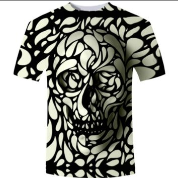 Awesome 3D Skull Printed Tee T-shirt
