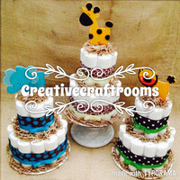 Tiered Jungle Animal Diaper Cake Centerpiece, Baby Shower, Baby Gift, Mommy Gift, Welcome Baby