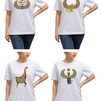 Women Egypt pharaoh Printed Round Neck Short Sleeves T- Shirt WTS_17