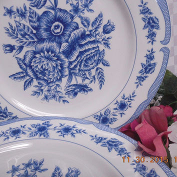 American Atelier, White China dinnerware  Floral Toile, #5197 2 Dinner plates