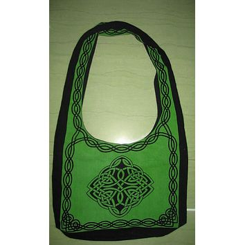 Handmade Cotton Celtic Hobo Bag for Shopping Work Tote Flat Bottom 15x12 inches