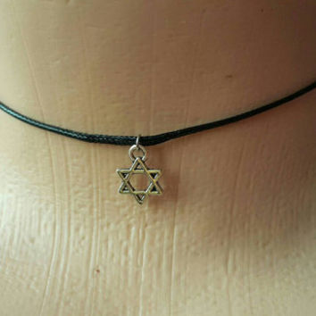 STAR OF DAVID Necklace Leather Choker Stars Necklace Little Star Choker